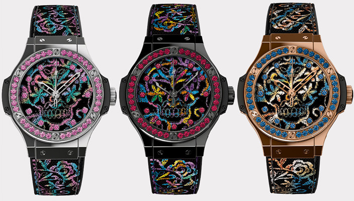 Швейцарские женские часы Hublot Big Bang Broderie Sugar Skull