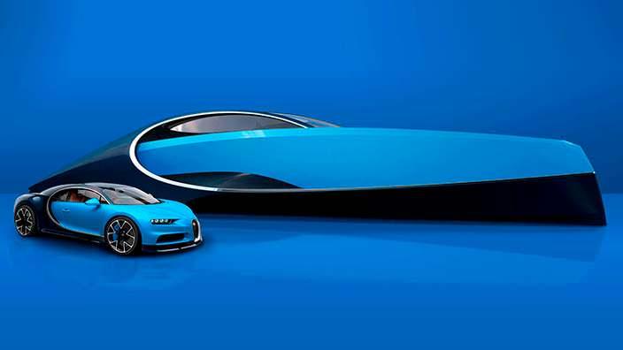 Яхта Bugatti Niniette 66 и гиперкар Bugatti Chiron