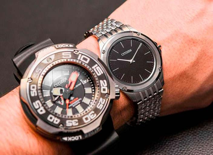Дайверские и тонкие часы Citizen на запястье