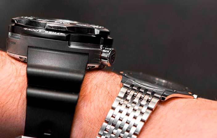 Толстые и тонкие часы Citizen на запястье