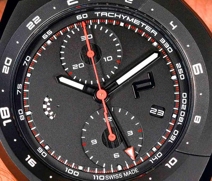 Черный циферблат Porsche Design Monobloc Actuator Chronograph