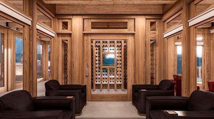 Фото | Винная комната в доме за $81 млн в Малибу