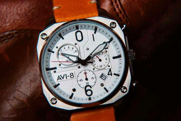 Авиационные часы с белым циферблатом Hawker Hunter AVI-8 AV-4052