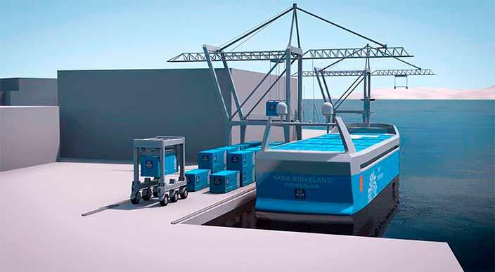 Автономный контейнеровоз YARA Birkeland