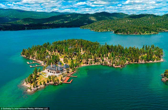 Фото | Частный остров на озере Флэтхэд в Монтане, США