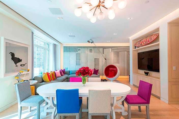 Дизайн обеденной зоны двухэтажного пентхауса на Манхэттене