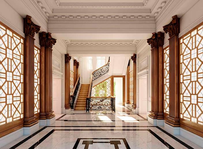 Лестничная площадка в здании The Palace Hotel