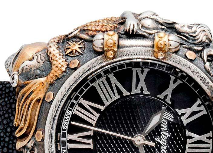 Серебряные часы с позолотой Montegrappa Pirates