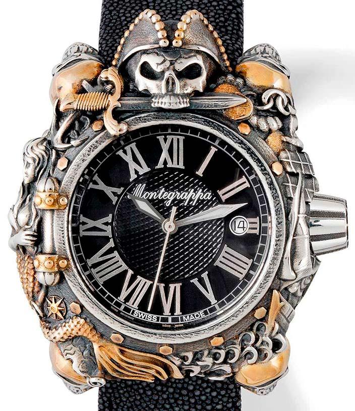 Серебряные часы с позолотой Montegrappa Pirates: цена $4 500