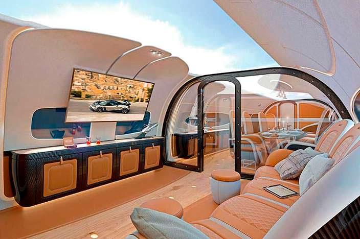 Интерьер бизнес-джета Airbus Infinito от Pagani