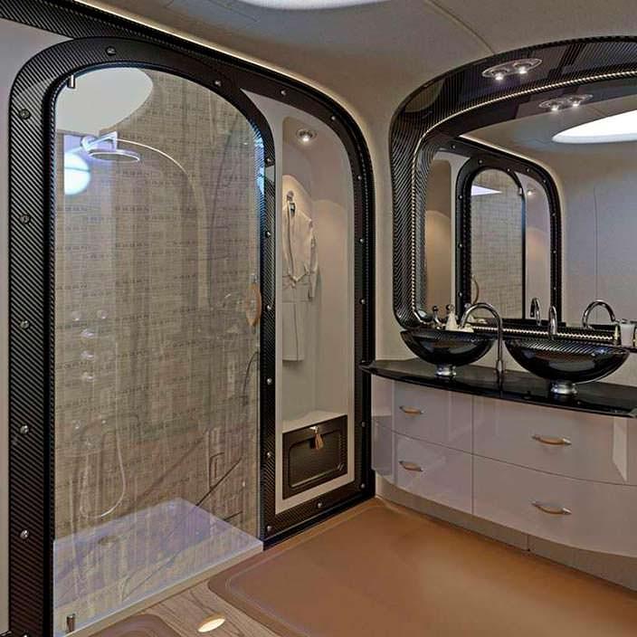 Ванная комната в бизнес-джете Airbus Infinito от Pagani