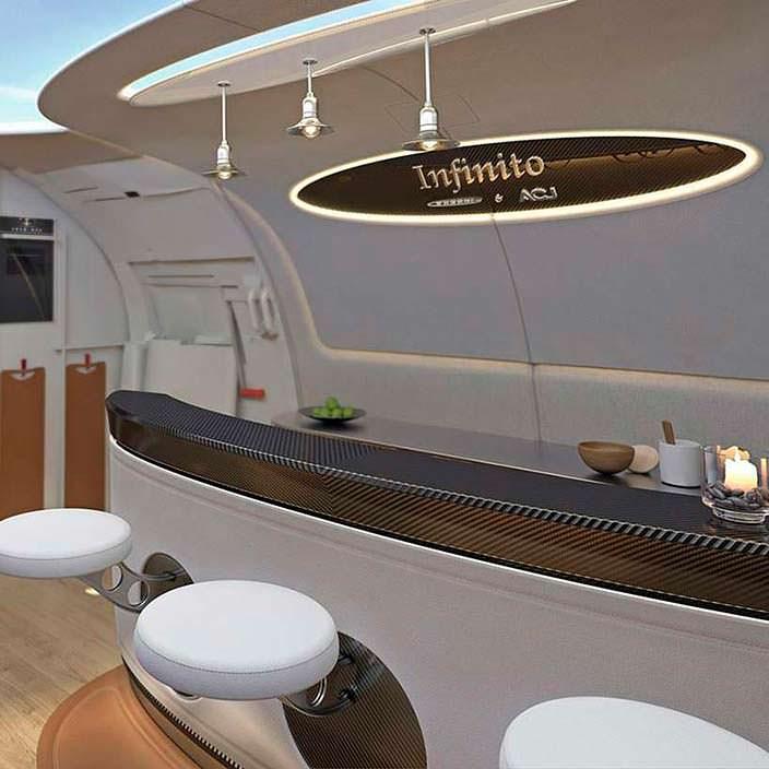 Барная стойка в бизнес-джете Airbus Infinito от Pagani