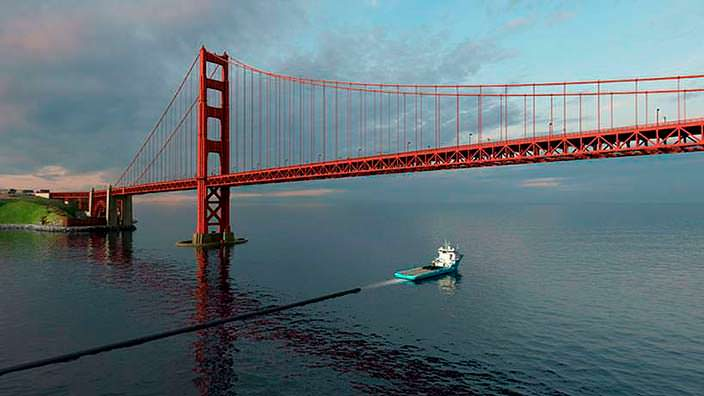 Доставка модульных барьеров The Ocean Cleanup в океан