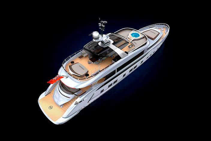 35-метровая яхта Dynamiq GTT 115. Дизайн Porsche Design