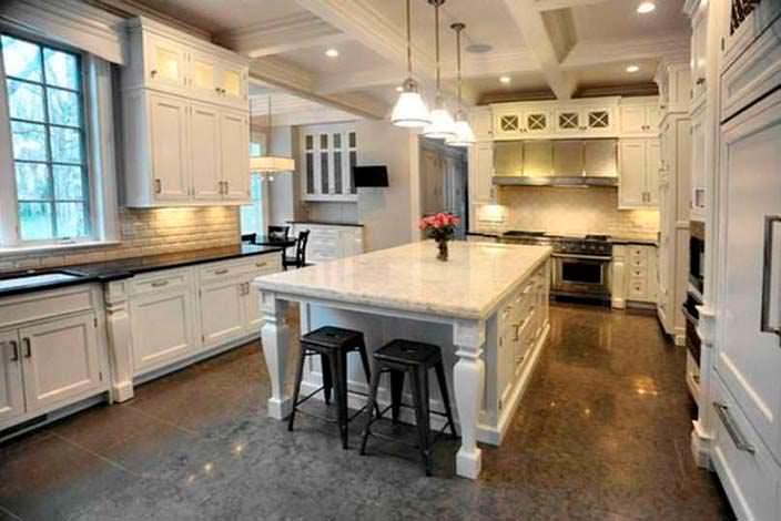 Дизайн кухни с мраморными столешницами