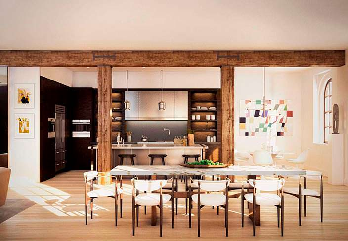 Дизайн кухни-столовой в квартире здания 443 Greenwich Street