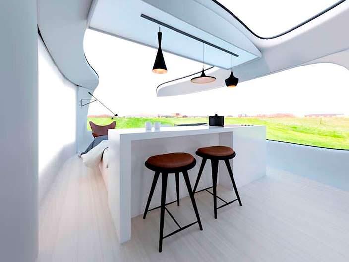 Светлый дизайн дома на колесах Camping Pod от Anomaly