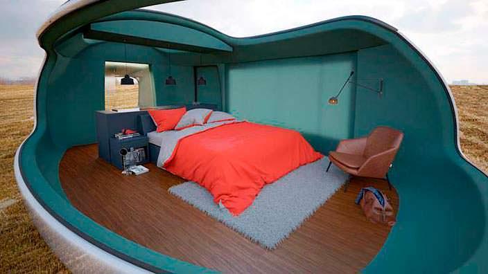 Интерьер спальни кемпера Camping Pod от Anomaly