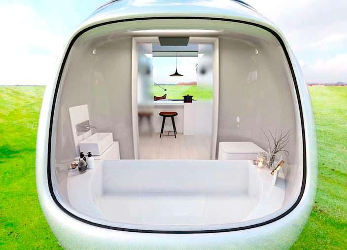 Полноразмерная ванная комната в кемпере Camping Pod от Anomaly