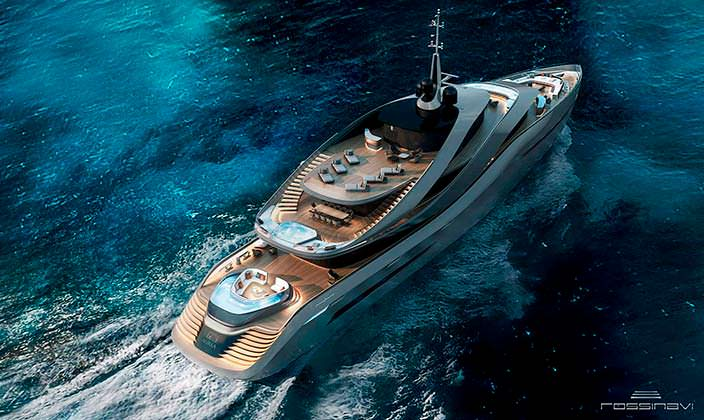 Яхта Aurea concept с вертолетной площадкой от Rossinavi