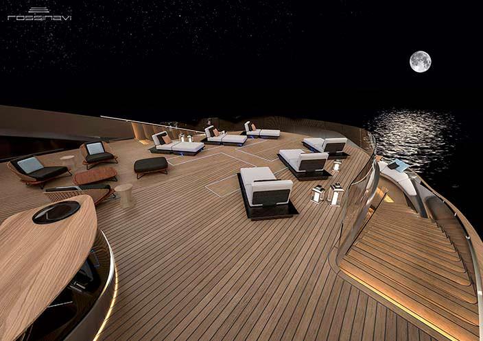 Палуба с шезлонгами яхты Aurea concept
