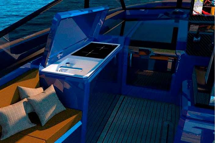 Мини-кухня на борту катера WA Yacht
