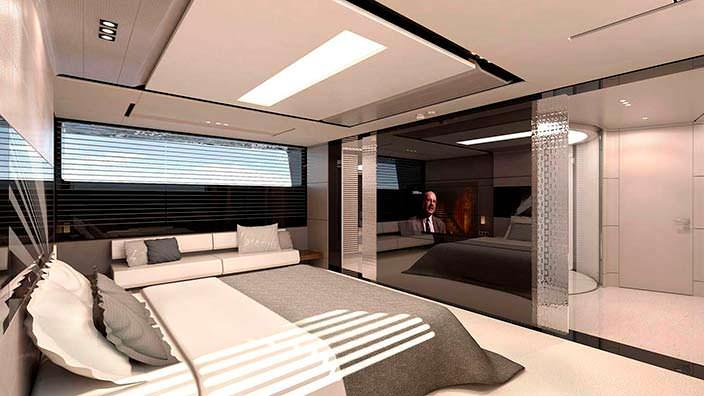 Каюта владельца на борту яхты AEON 380 от Scaro Design