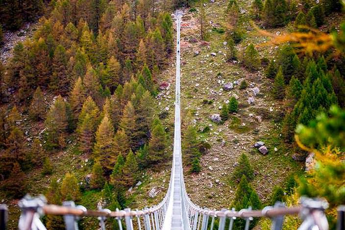 Самый длинный пешеходный подвесной мост. Грэхен и Церматт