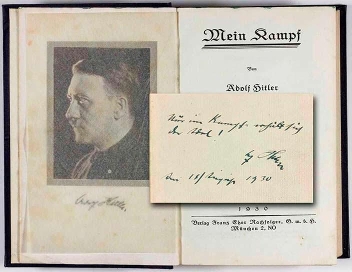 Книга «Майн Кампф» с автографом Адольфа Гитлера