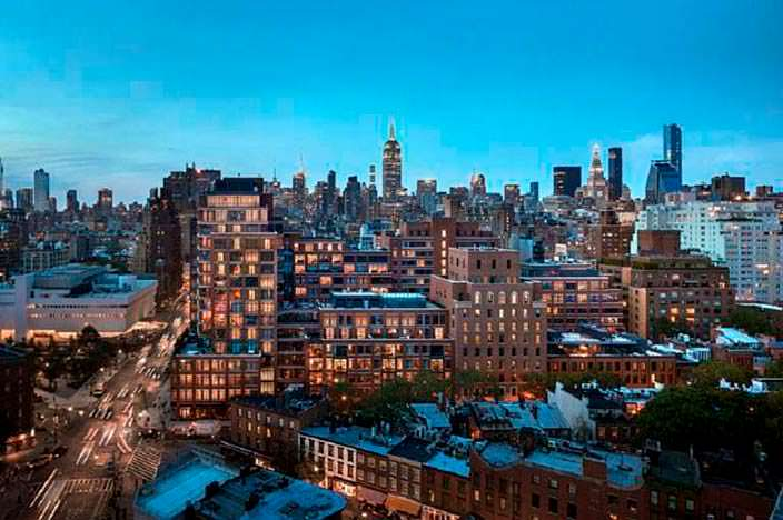 Панорамный вид на Манхэттен из окон пентхауса
