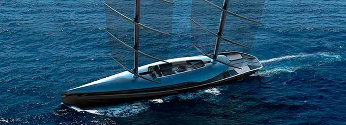 Футуристическая парусная яхта Cauta с двумя мачтами