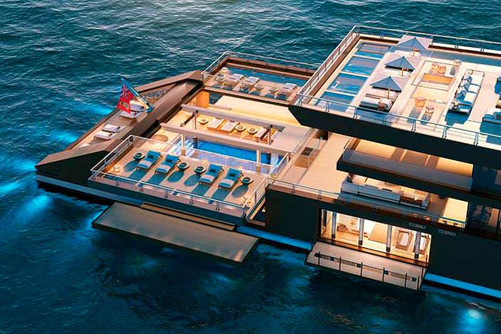 Пляжный клуб на борту яхты Sinot Nature