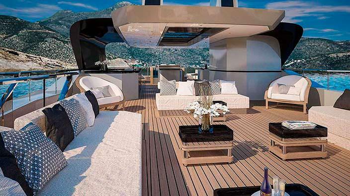 Скай-лаундж на яхте Sarp Yachts Nacre 55