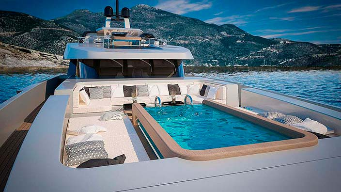 Джакузи на борту яхты Sarp Yachts Nacre 55