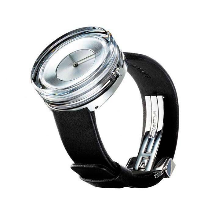 Стеклянные часы Issey Miyake с кожаным ремешком