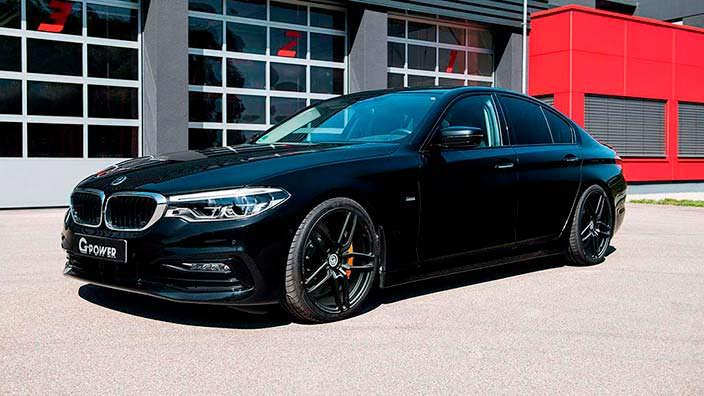 Чёрный седан BMW 5-Series G30. Тюнинг от G-Power