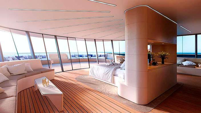 Хозяйский люкс на 100 кв. м. яхты Benetti Se77antasette