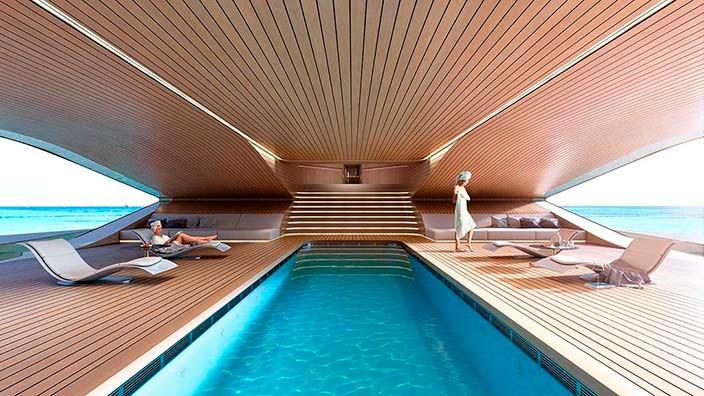 Спа с бассейном и пляжным клубом яхты Benetti Se77antasette