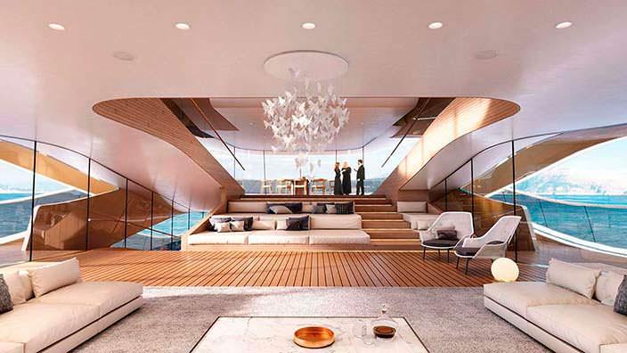 Конференц-зал на борту яхты Benetti Se77antasette