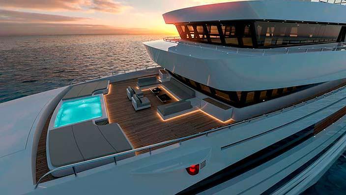 Бассейн на верхней палубе яхты Rosetti Marino Group