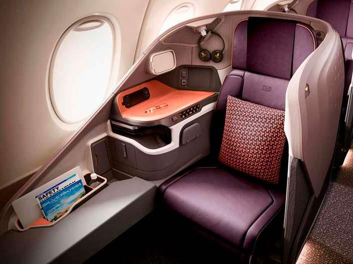 Кожаное кресло в бизнес-классе Airbus A380 от Singapore Airlines