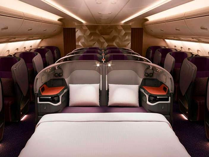 Люксы с двуспальными кроватями на борту Airbus A380