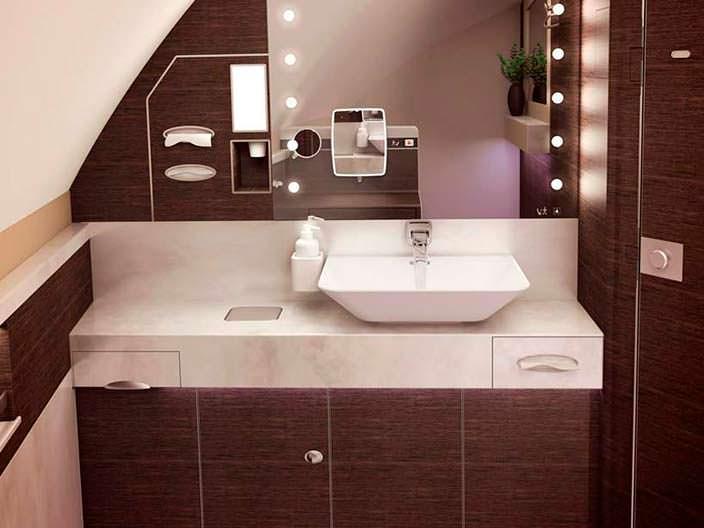 Дизайн ванной комнаты на борту Airbus A380 от Singapore Airlines