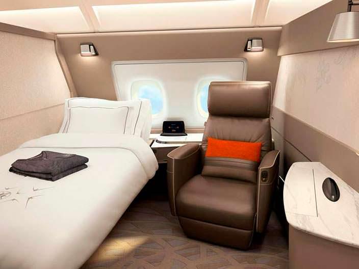 Односпальный люкс в бизнес-классе Airbus A380