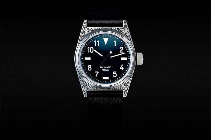 Итальянские часы Unimatic Modello Due с ручной гравировкой