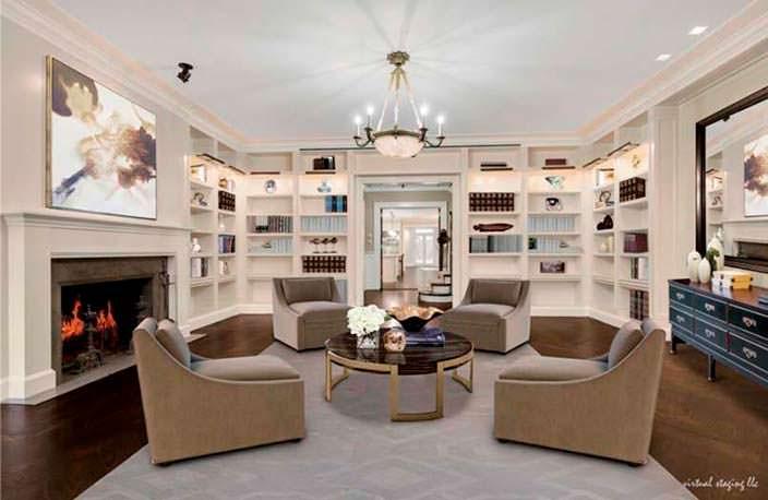 Домашняя библиотека с камином