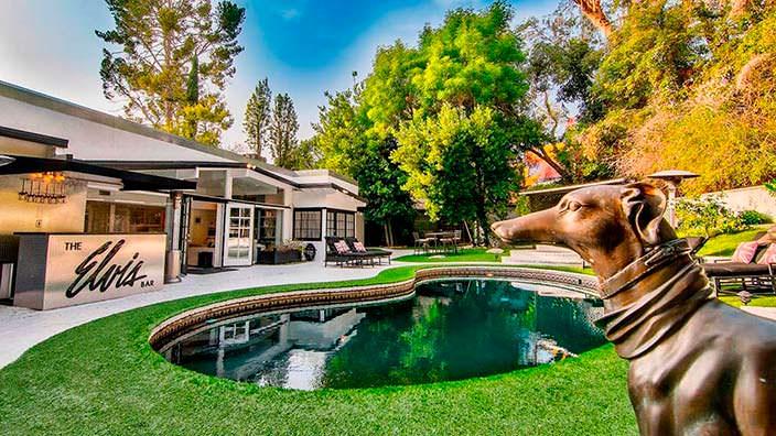 Бассейн в форме почки на заднем дворе дома Винни Джонса