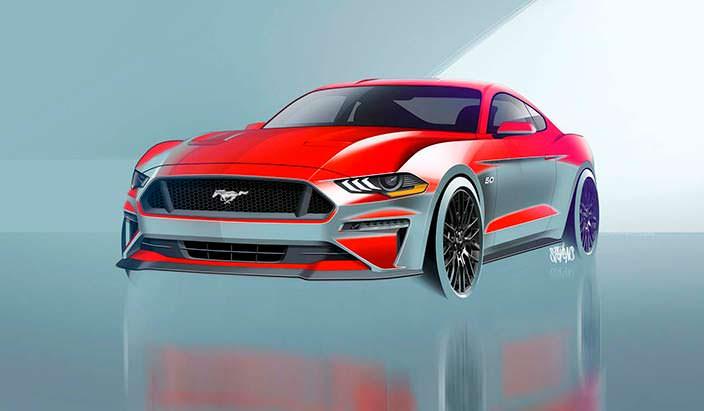 Наброски дизайна Ford Mustang 2018