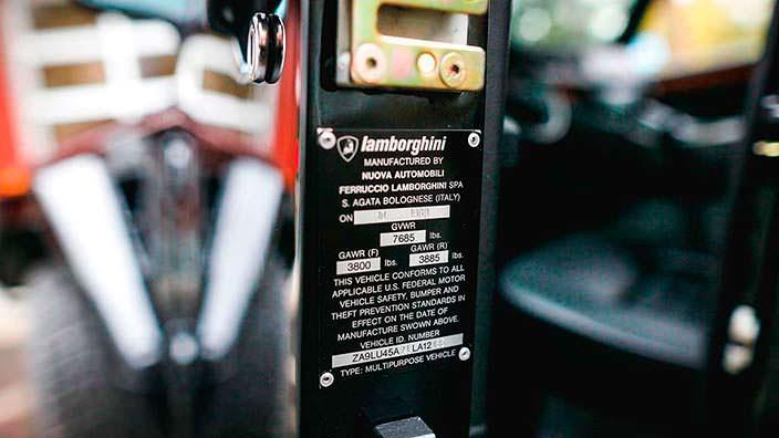Номер шасси Lamborghini LM002