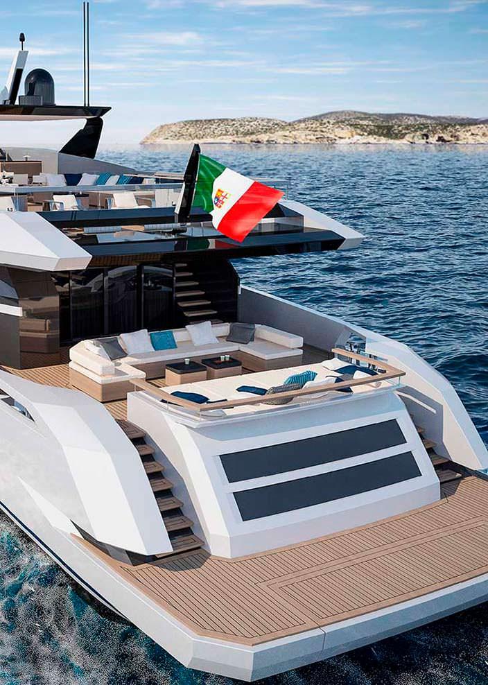 Пляжный клуб яхты V-Line 38 от Baglietto и Hot Lab